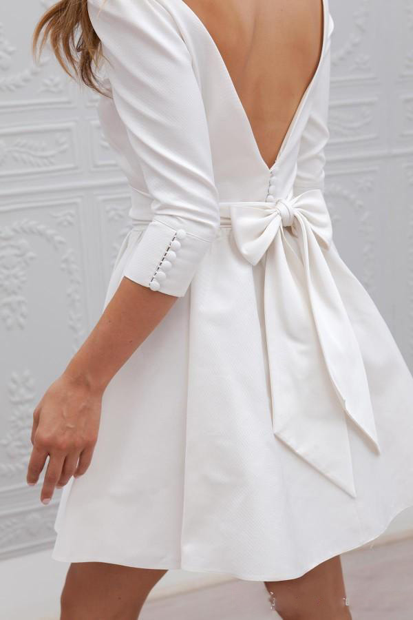 Image 4 - Fall 2019 New Elegant Boho Short Wedding Dresses Scoop A Line 3/4 Long Sleeves Satin Knee Length Beach Bridal Wedding Gowns-in Wedding Dresses from Weddings & Events