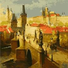 Frameless Landscape quadri da parete DIY Digital Oil Painting On Canvas acrylic Coloring By Numbers Sunset Castle