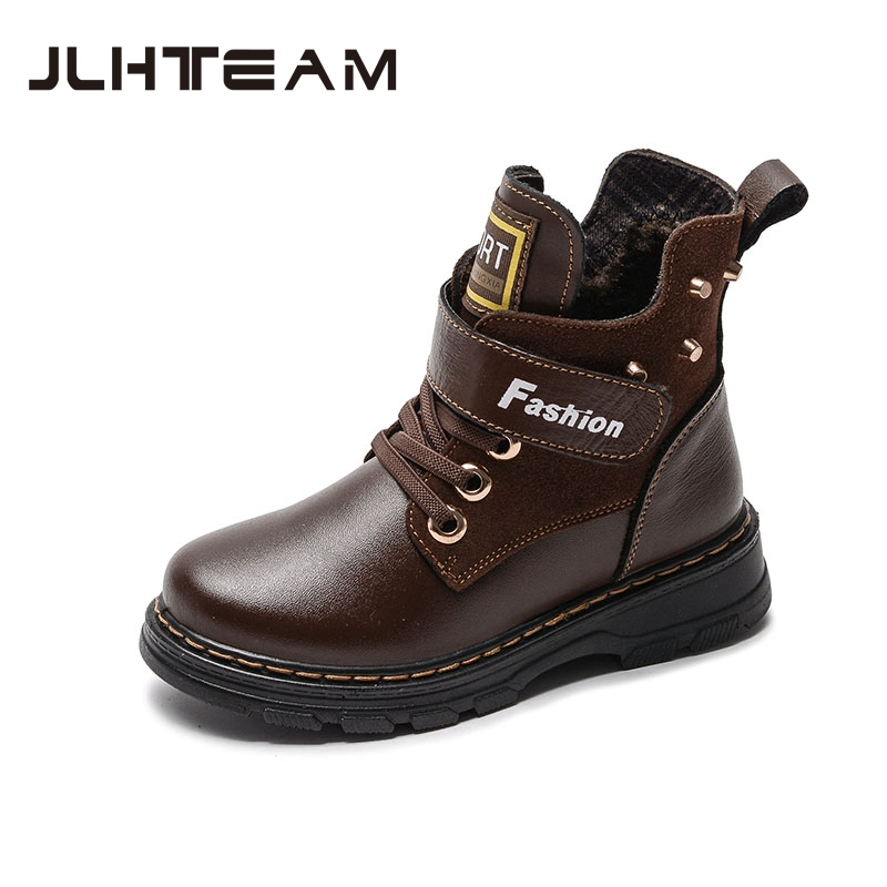 2018 New Autumn Winter Warm Genuine Leather boots High Quality Children Snow Boots Boys Boots Comfortable Kids Hot Casual shoes