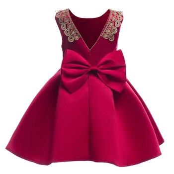 988c6d5ee Novedad vestidos de Navidad para niñas Rojas 2019 vestidos de fiesta  impresos para niños vestidos de fiesta de cumpleaños vestidos de fiesta  para niños