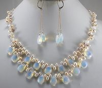 Hot sale Free Shipping>Big Sale! Fashion Light Blue Fire Opal and Fresh Water Pearl Necklace Set