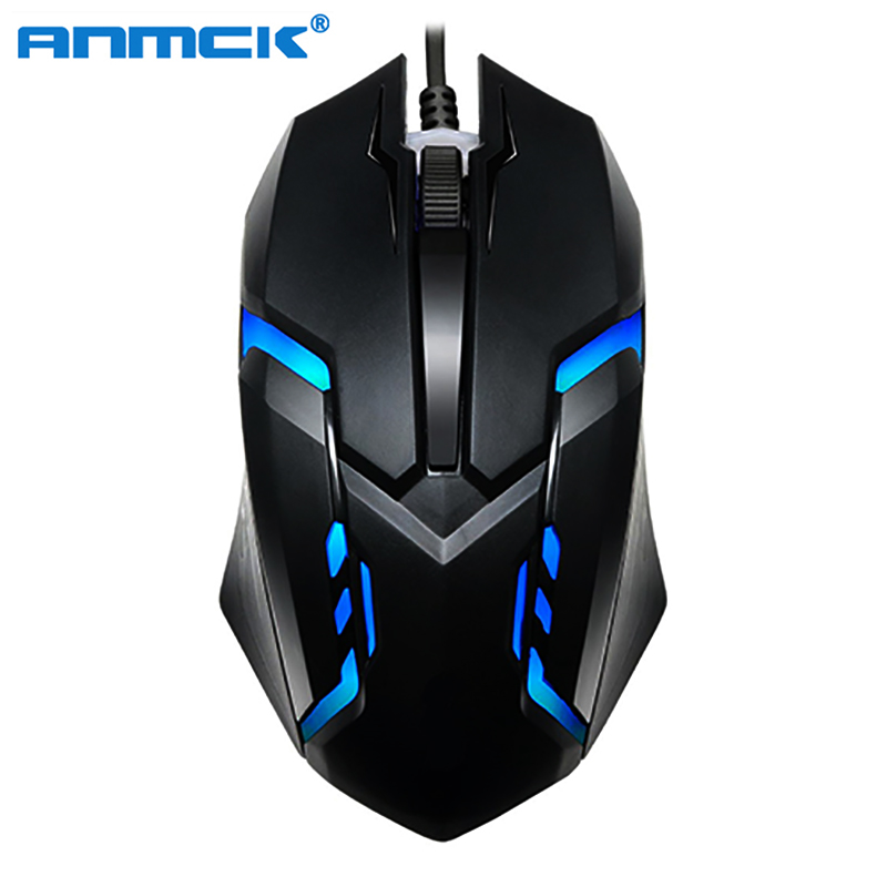 Anmck Wired Gaming Mouse For Computer USB Gamer Mice RGB Light 1600 DPI Professional Wired Game Mause For Laptop Notebook