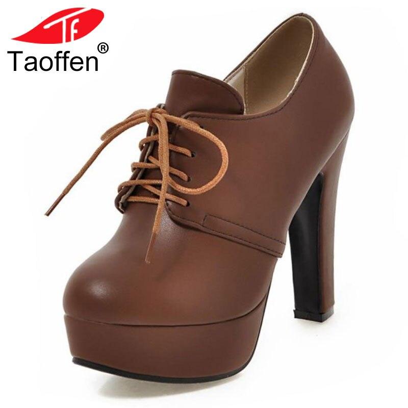 TAOFFEN/плюс Размеры 31-47 женские туфли на высоком каблуке туфли-лодочки на платформе для дождливой погоды женская обувь на толстом высоком кабл...