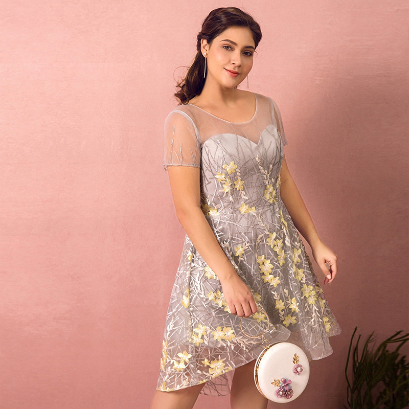 Plus Size Gray Sheer Neck Floral Lace Vestidos De Festa Pleats A-line   Bridesmaid     Dresses   Short Sleeves Short Prom Party Gowns