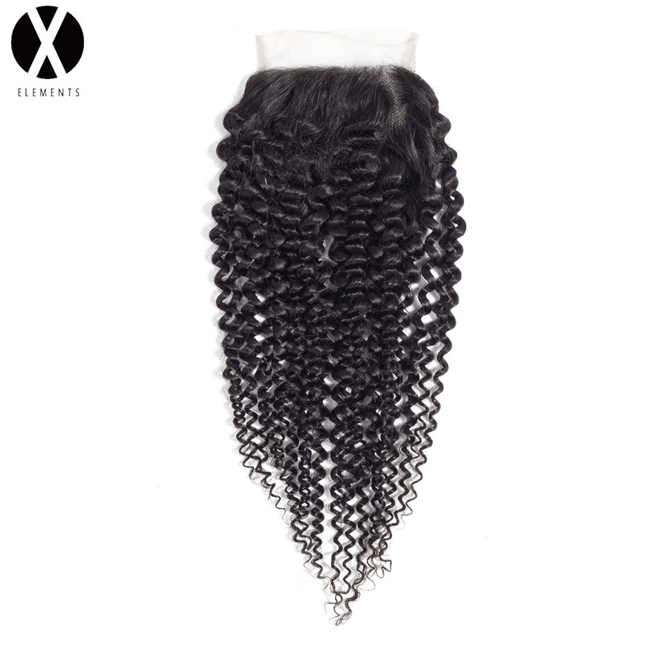 X-Elements 100% Human Hair 4*4  Lace Closure  Brazilian Kinky Curly  - Human Hair (For Black)