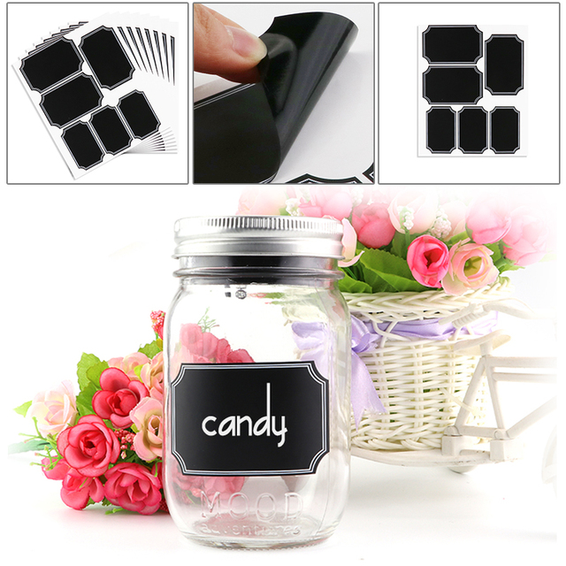 48pcs/set Kitchen Storage Bottles Jars Sticker Lable Tags Blackboard Chalkboard for Home Wedding Party Can Be Reused Stickers