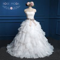 Rose Moda Organza Ball Gown White Blush Pink Wedding Dresses Lace Up Back Plus Size Wedding Dress 2018