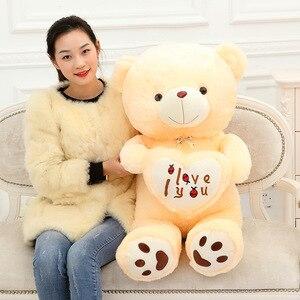 Image 2 - זול 50CM 70CM 90CM דובון דובי חיבוק ענק גדול צעצועי בובה ממולא בפלאש בעלי חיים אני אהבה אתה בובת ולנטיין מתנה עבור ילדה