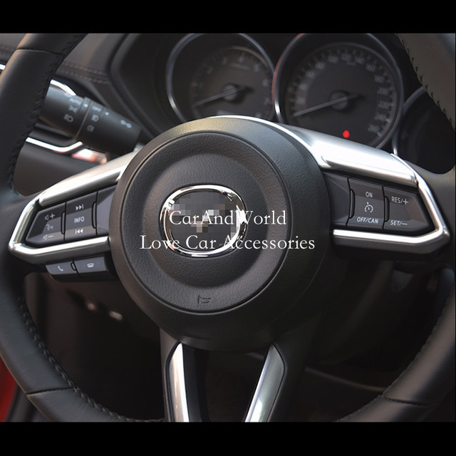 For 2017 2018 Mazda CX 3 CX3 Steering Wheel Button Cover Interior Trims ABS  Chrome