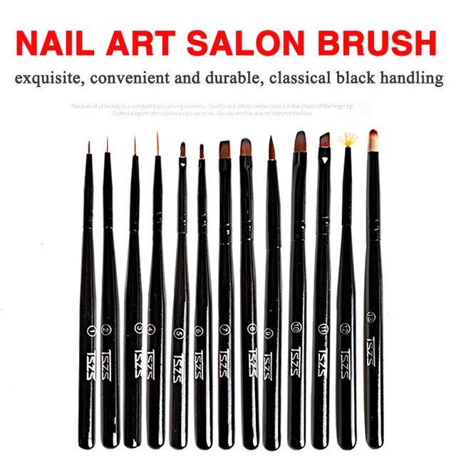 1Pcs/lot Nail Art Lines Painting Black Pen Brush Striper Daisy Acrylic Fan Gradient Shading UV Gel Polish Tips Flower 1