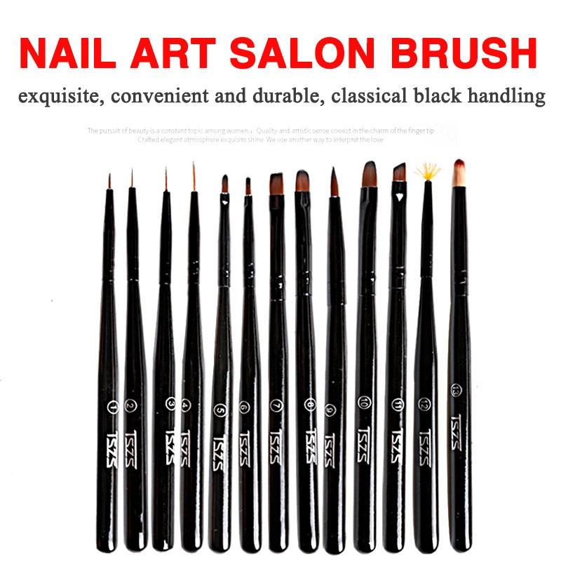 1Pcs/lot Nail Art Lines Painting Pen Brush Striper Daisy Acrylic Fan Gradient Shading UV Gel Polish Tips Flower