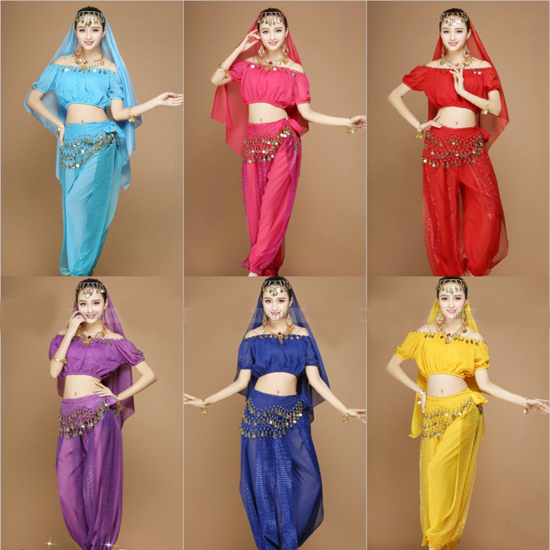 4 Pieces Adult Women Cheap Sexy Top Indian Egyptian Belly Dance Clothes For Sale