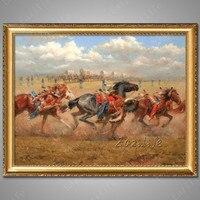 Handgeschilderde canvas schilderijen Western Cowboy olieverf op canvas muur foto voor woonkamer muur canvas Paard 5