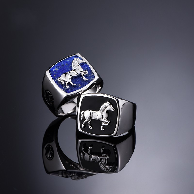 black agate rings lapis ring men male personality contracted index finger ring boyfriend gift, Japan and South Koreablack agate rings lapis ring men male personality contracted index finger ring boyfriend gift, Japan and South Korea