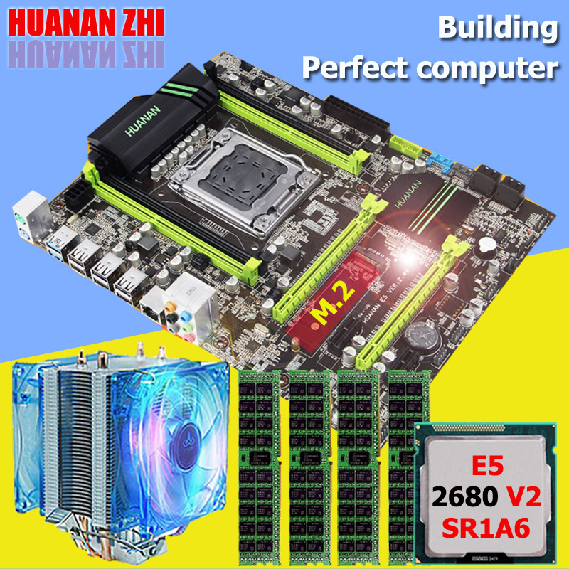 HUANAN ZHI X79 motherboard CPU RAM set with cooler Intel Xeon E5 2680 V2 SR1A6 RAM 32G(4*8G) DDR3 1600MHz RECC NVME SSD M.2 port huanan v2 49 x79 motherboard with pci e nvme ssd m 2 port cpu xeon e5 2660 c2 ram 16g ddr3 recc support 4 16g memory all tested