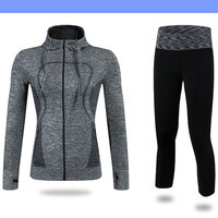 2017 YEL Autumn Winter 2Pcs Hoodie Track Suit Sport Jacket Pant Set Yoga Jogging Gym Suit