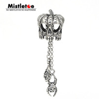 Mistletoe Genuine 925 Sterling Silver Halloween Pumpkin Skull Bat Spider Dangle Charm Bead Fit European Bracelet Jewelry