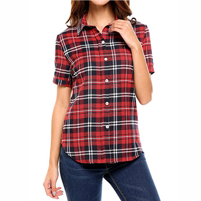 f91df71eed20fb Dioufond Fashion Plaid Shirt Women Blouses Short Sleeve Plus Size Casual  Blouses Summer Tops For Women 2018 Korean Style L-5XL