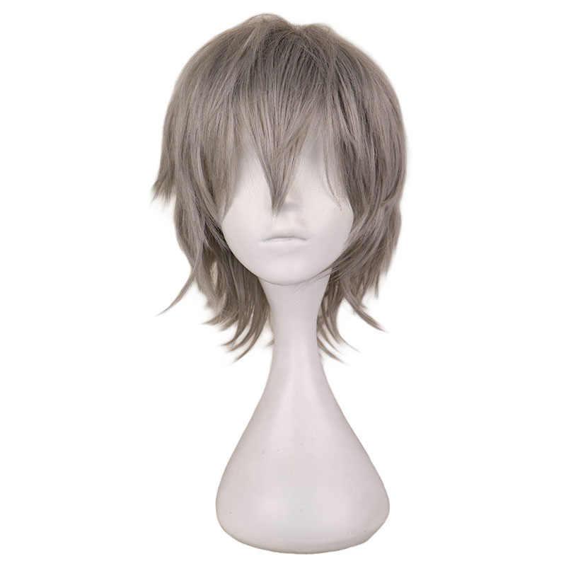 QQXCAIW czarny biały fioletowo-czerwony krótkie włosy peruka do Cosplay mężczyzna Party 30 Cm wysokiej temperatury włókna syntetyczne peruki do włosów