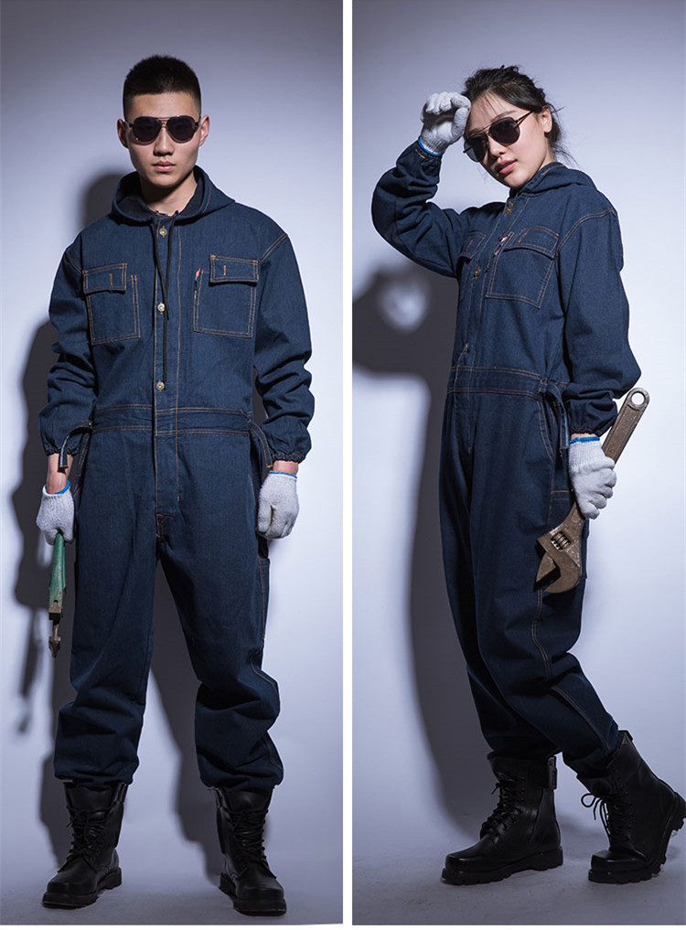 86d9cd65 US $38.5 30% OFF|Winter Mens denim Working Overalls Male Work Wear uniforms  clothes Fashion Hooded Jumpsuits For Worker Repairman 101303-in Jeans from  ...