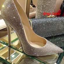Fashion pointed toe bridal shoes rhinestone high-heeled shoes single diamond thin heels wedding shoes Party Prom Shoes