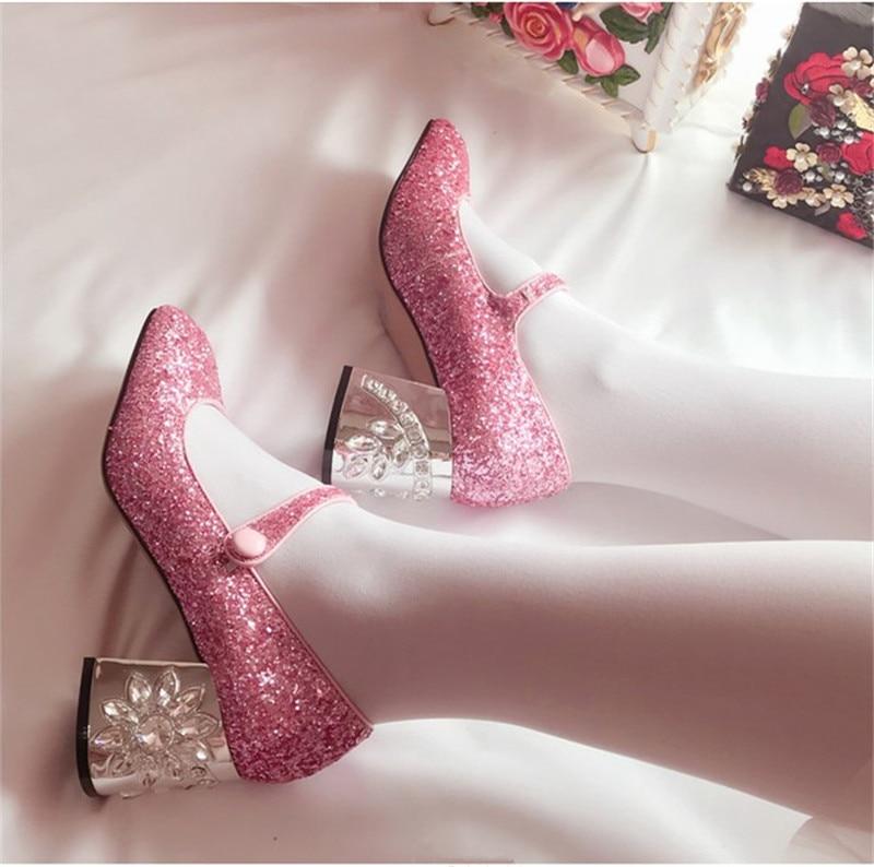 Bout Talon Rose Pour Strass Bling Hauts Mary Doux Fleur Janes À Chaussures Ceinture Paillettes blue pink Black Glitter Talons Carré Femme Cristal qqF0I8w