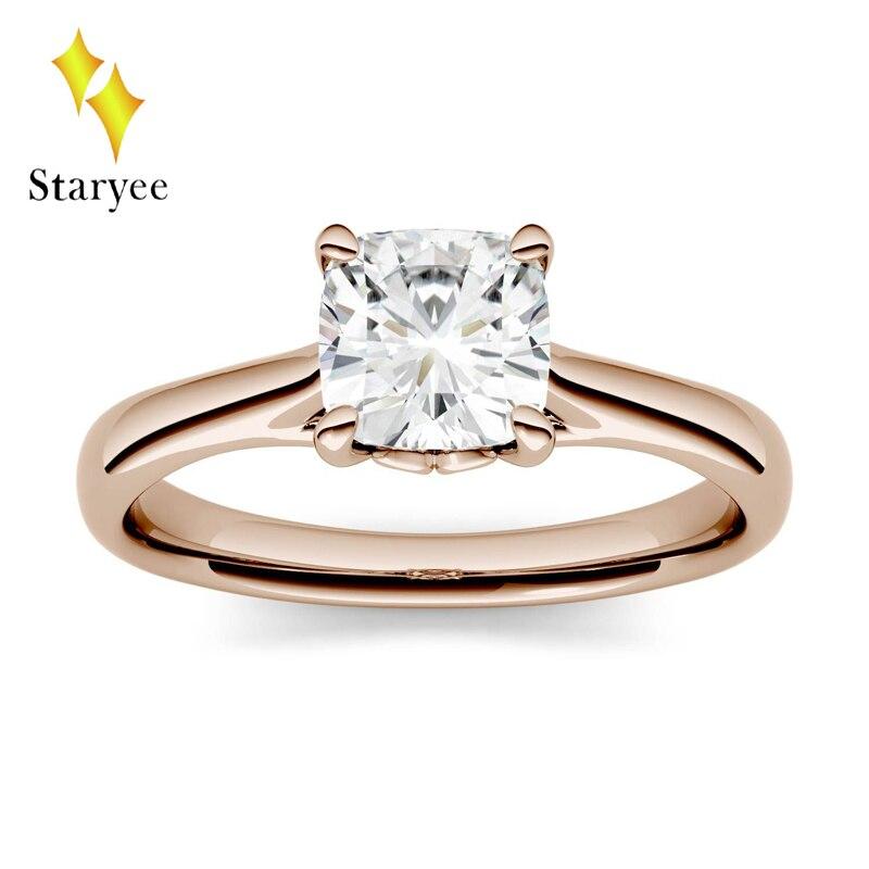 1.1 Carat ct 6mm Cushion Cut Engagement&Wedding Moissanite Lab Diamond Ring Four Prong Solitaire Ring Genuine 18K 750 Rose Gold jinhui 18k 750 0 05 ct jh bs1380