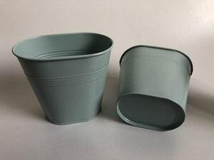 Image 2 - 10Pcs/lot Metal Tub Small Oval Vase Wedding Decorative Pots Sky Blue Wedding Centerpieces iron flower pots SF 0516