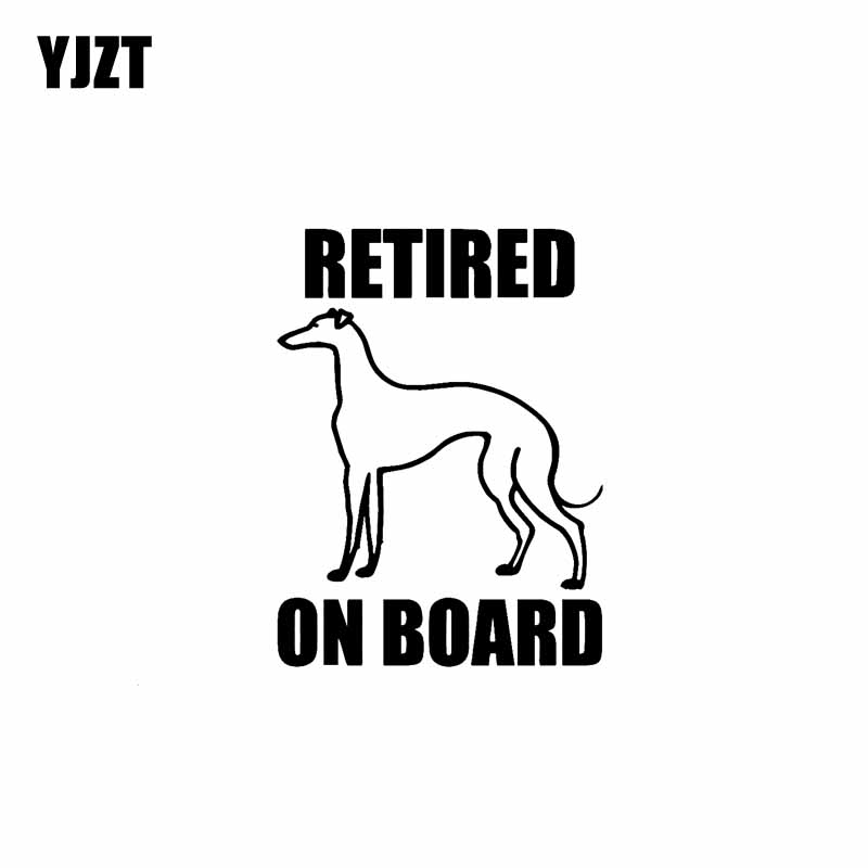 YJZT 10.7cm*13.8cm RETIRED GREYHOUND ON BOARD Cute Decal Vinyl Car Sticker Black Silver C10-00625