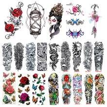 Tattoo Stickers for Body Arm Tattoo Sleeve Waterproof Temporary Tattoo Transfer Stickers Skull Flower Decals Metallic Tattoos football panama flag tattoo body stickers