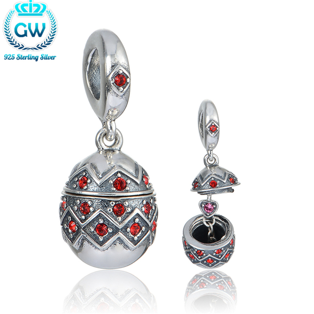 925 Sterling Silver Easter Egg Charm With Heart Inside 2016 New Halloween Beads Charm GW Brand Jewellery S402