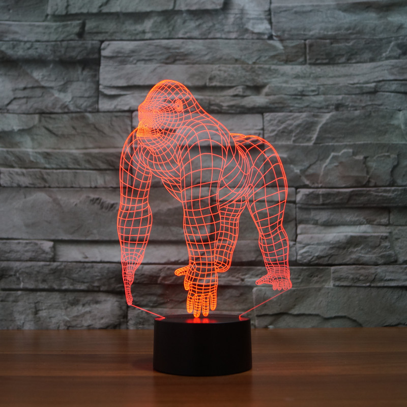 new chimpanzee 3D light colorful touch LED visual light gift atmosphere desk lamp