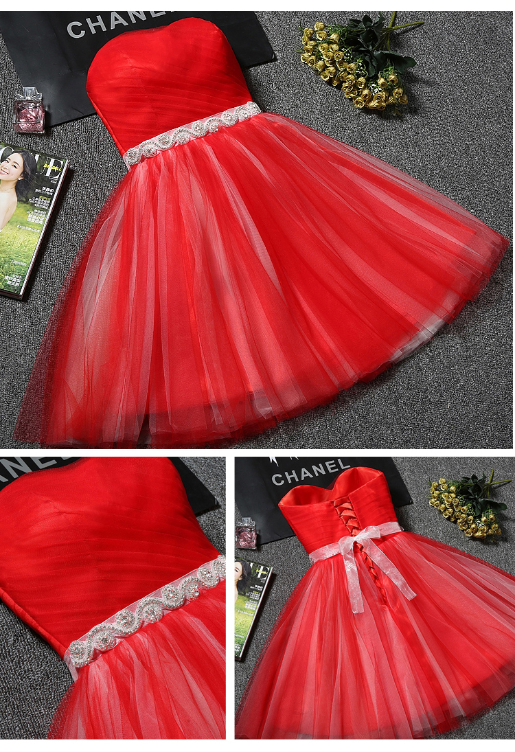 Princess Sweetheart Tulle Short Bridesmaid Dress 3