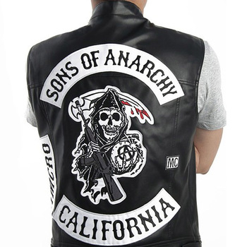 Sons Of Anarchy Embroidery Leather Rock Punk Vest Costumes Black Color Harley Motorcycle sleeveless Jacket Cosplay letra g bem bonita