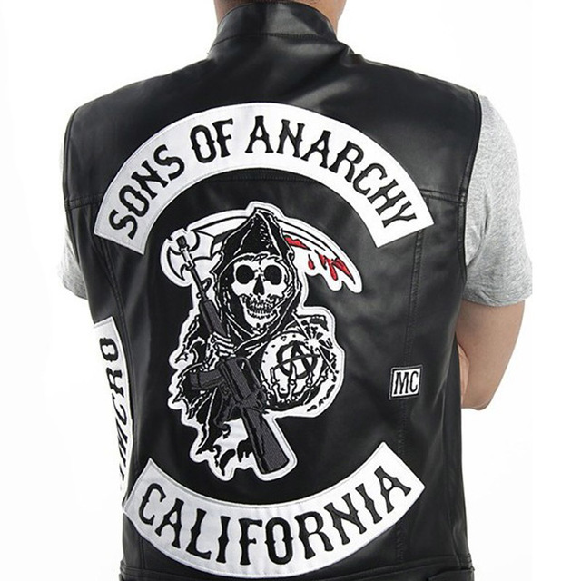 Sons of Anarchy Vest Leather Rock Punk Vest  Sons Of Anarchy Embroidery Costumes Harley Motorcycle sleeveless Jacket Cosplay