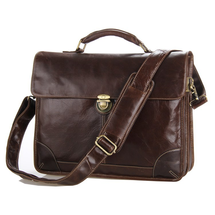 High Quality Vintage Chocolate Men Real Genuine Leather Briefcase Cowhide Portfolio Handbag Men Messenger Bags M7091