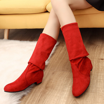 2018 Slim Boots Sexy Over The Knee High Suede Women Snow Boots Women's Fashion Winter Thigh High Boots Shoes Woman Botas Mujer 2