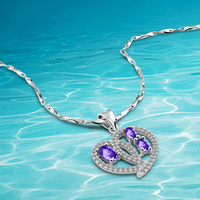 Free shipping 925 sterling silver necklace purple crystal Sweet female fashion jewelry lovers heart pendant birthday gift