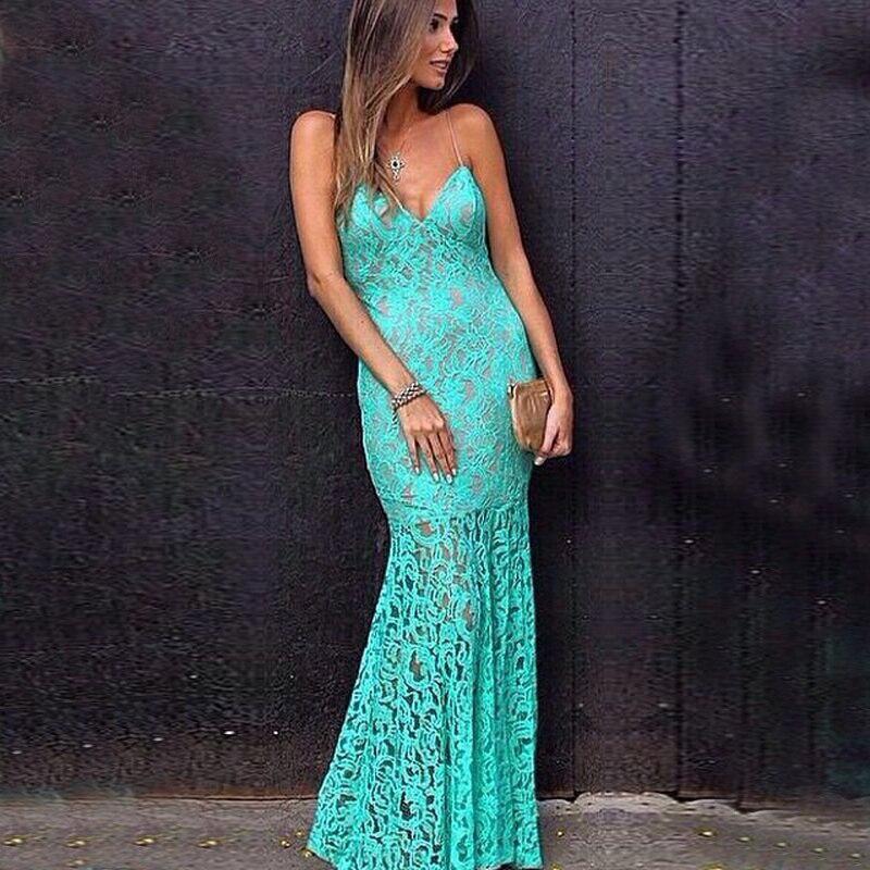 Vestido de gala color verde agua
