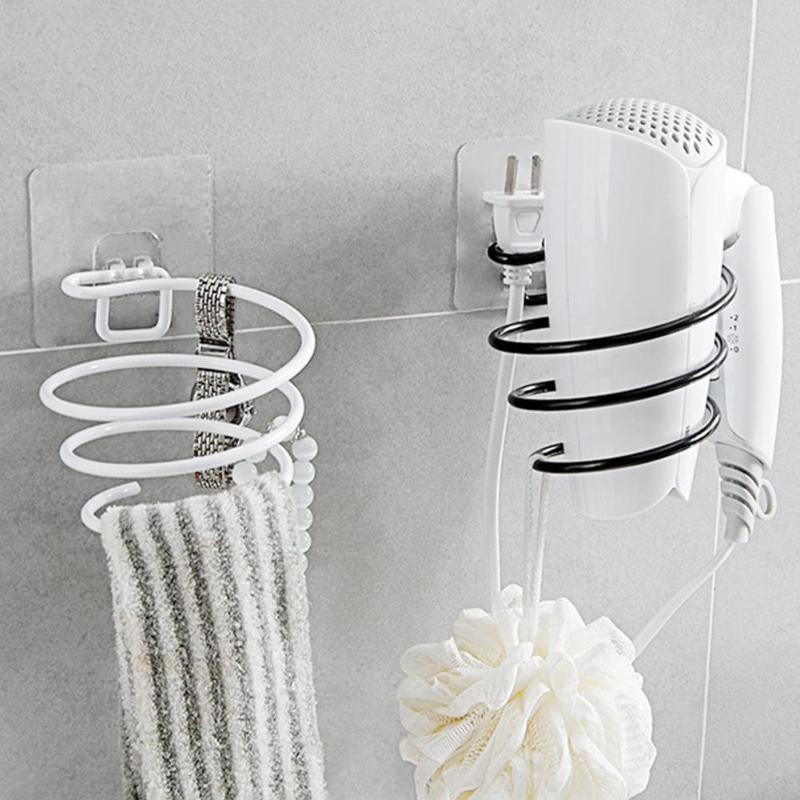 Wall Mounted Hair Dryer Rack Bathroom Wall Holder Shelf Storage Rack Hairdryer Support Holder Spiral Stand Salon Stylist Tool
