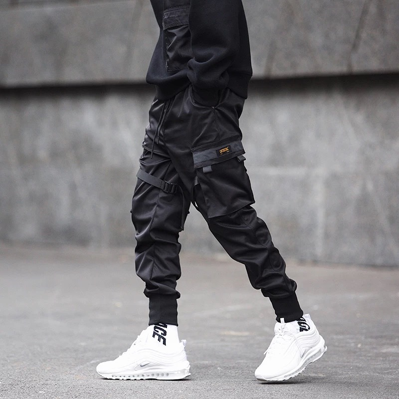 Image 5 - Pantalones de baile para hombre, pantalones Harem para hombres,  ropa de calle Punk Hip Hop, pantalones casuales, Joggers para hombres,  diseño de cintura elástica con varios bolsillos, M 4XL  -
