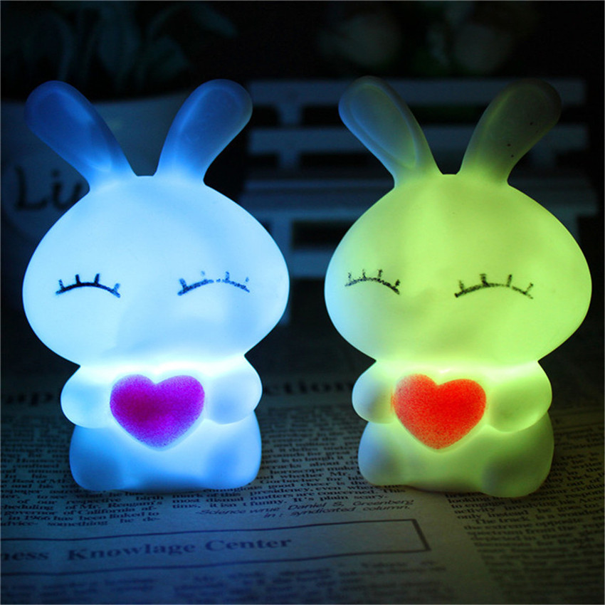 Colorful Led Lovely Night Lamps LOVE Rabbit Dolls Nightlight Cartoon Bulbs Kids Bed Lamps Bedroom Table Lamp Gift With Battery