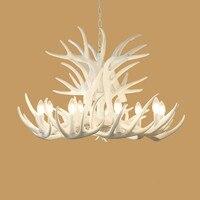 4/6/9 Arms White Antler Lamp In Pendant Chandelier E14 Socket Chandelier for Living Dinning room High Quality Natural Resin Lamp