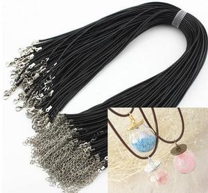 * Новинка * 10 шт./лот 2 мм черный вощеный шнур для ожерелья с застежкой-лобстером подходит для стеклянного флакона