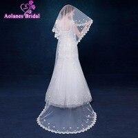 AOLANES Fashion 2018 White/Ivory bridal veils pearls cheap wedding veils wedding accessory 3 Meters Wedding Mariage