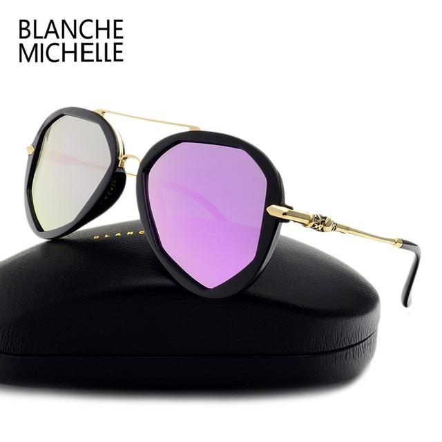 Blanche colorful Fashion Sun Glasses Female Polarized Sunglasses Women Luxury Brand Designer summer polygon UV400 eye Mirror