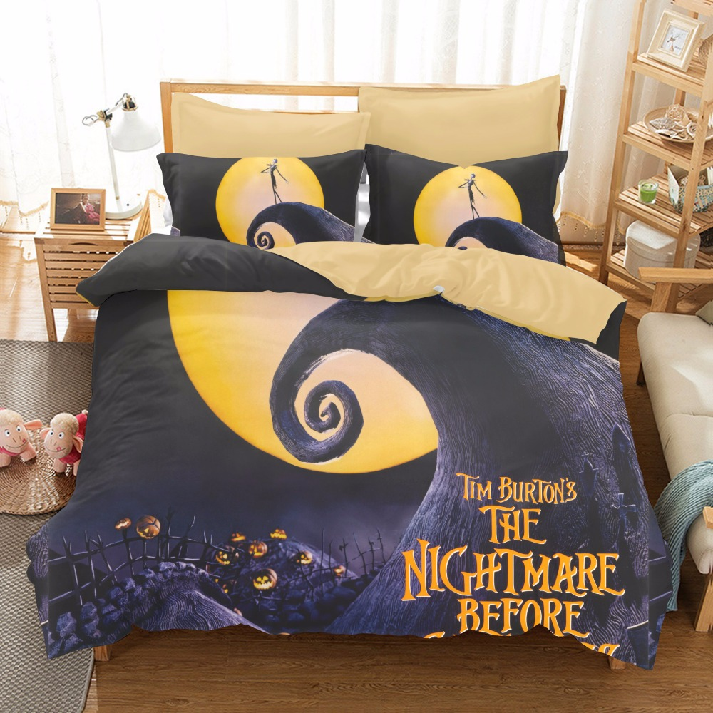 Twin Christmas Bedding Sets.Us 93 88 The Nightmare Before Christmas Bedding Set 3pcs Qualified Bedclothes Unique Design Duvet Cover Set Twin Queen Size For Kids Gift In Bedding