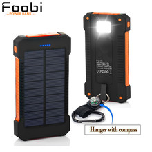 FOOBI Waterproof Solar Charger 20000mAhPower Bank Solar Battery Charger Dual USB with LED Flashlight with Compass for CellPhones