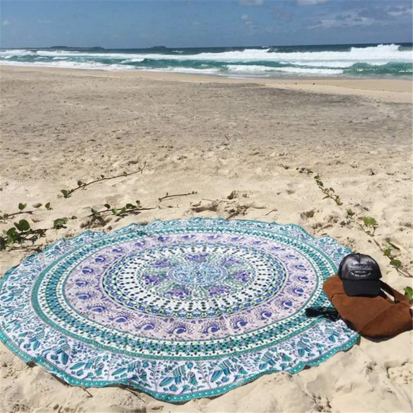 Round Beach Pool Home Shower Towel Blanket Table Cloth Yoga Mat 1124