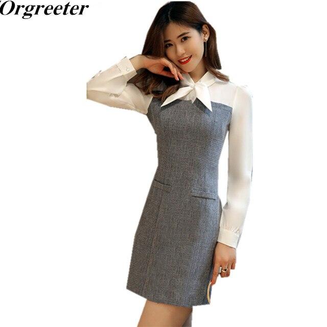 fa4c43fb437 New Patchwork Vestidos Women Slim Bow Collar Sexy Party Dresses Business  Casual Pencil Sheath Dress
